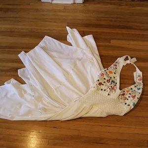 Vintage embroidered boho crochet white dress